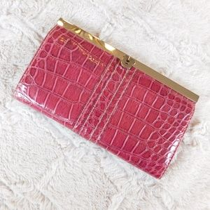 Patent, vegan pocketbook wallet clutch pink
